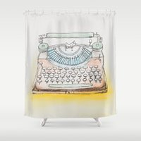 typewriter Shower Curtains featuring Typewriter by Moe Notsu