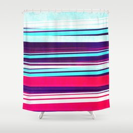 teal & red strips  Shower Curtain