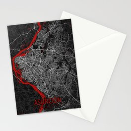 Asunción City Map of Paraguay - Oriental Stationery Cards