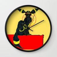 umbreon Wall Clocks featuring umbreon noir by HiddenStash Art