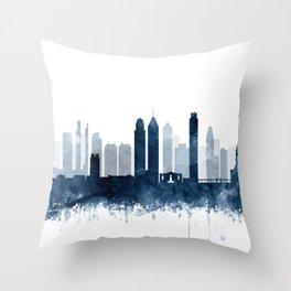 Philadelphia City Skyline Blue Watercolor by zouzounioart Throw Pillow
