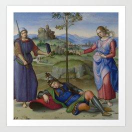 """Raffaello Sanzio da Urbino """"Vision of a Knight (The Dream of Scipio or Allegory)"""", circa 1504-1505 Art Print"""