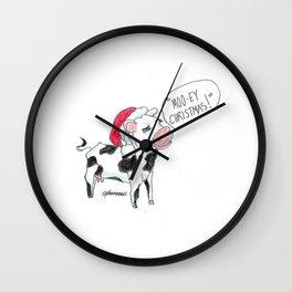 Moo-ey Christmas Cow Wall Clock