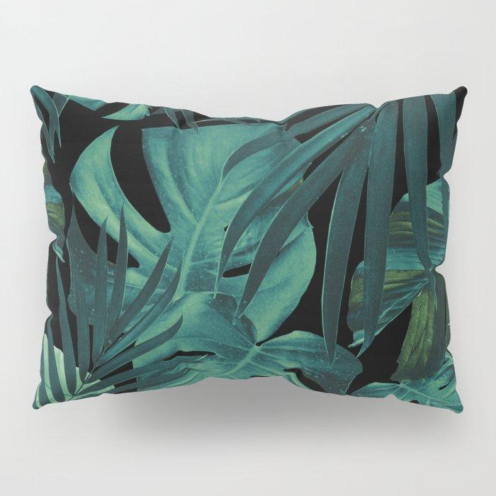 Tropical Jungle Night Leaves Pattern #1 #tropical #decor #art #society6 Pillow Sham