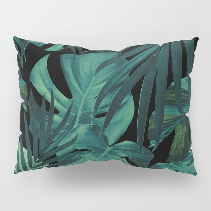 Tropical Jungle Night Leaves Pattern #1 #tropical #decor #art #society6 Pillow Sham