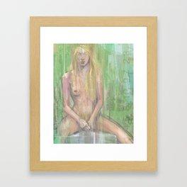 Figure in Green Framed Art Print