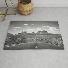 On the Open Road - Monument Valley - b/w Rug