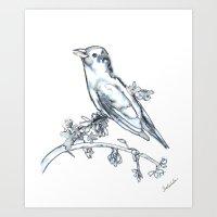 Singing Bird, watercolor Art Print
