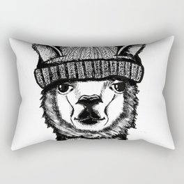 Llama in a hat Rectangular Pillow