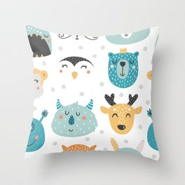 Baby Animals - Fantasy and Woodland Creatures Pattern Throw Pillow
