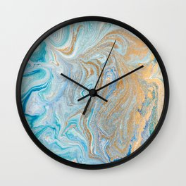 Marble turquoise gold silver Wall Clock