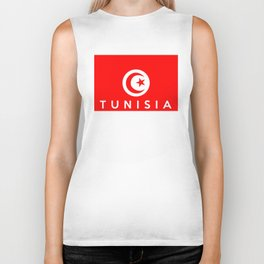 Tunisia country flag name text Biker Tank