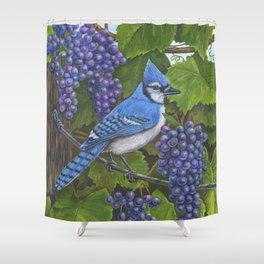 Blue Jay and Grapes Shower Curtain