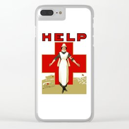 Vintage Red Cross -- Help Nurse Clear iPhone Case