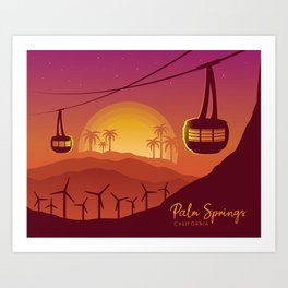 Palm Springs Valley - Sunset Horizontal Version Art Print