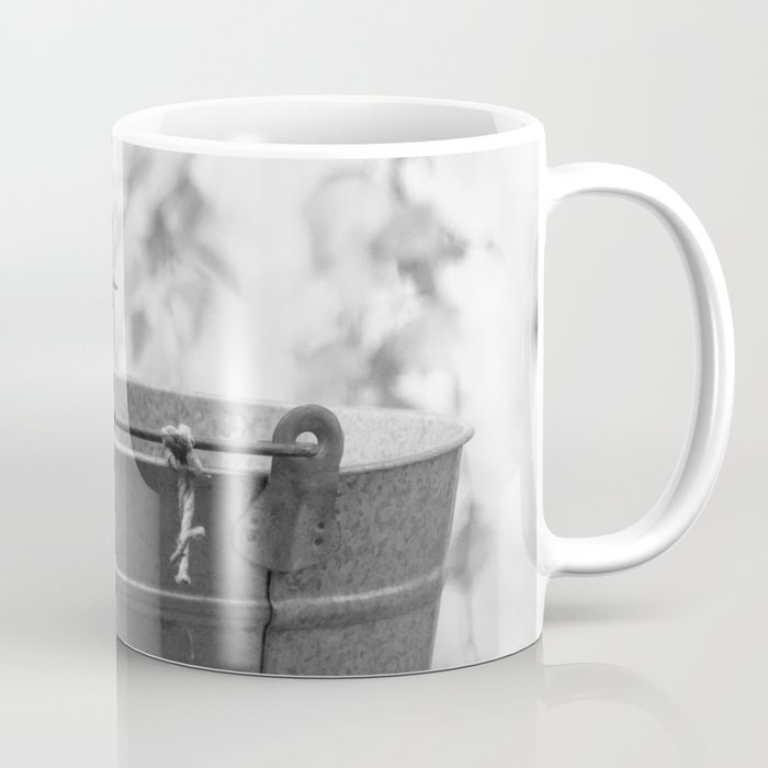 Songbird (Great Tit) on Autumn Day Black and White #decor #society6 #buyart Coffee Mug