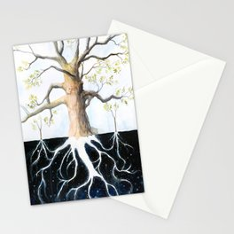 Underneath, Mother Tree and Seedlings, Surreal Illustration Stationery Cards