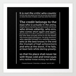 Daring Greatly Quote Art Print