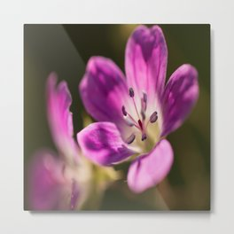 Purple flowers glow in forest #decor #buyart #society6 Metal Print
