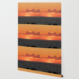 Orange sunset on the sea Wallpaper