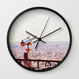 Overlooking Paris - Telescope Wall Clock