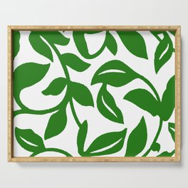 PALM LEAF VINE SWIRL IN GREEN AND WHITE Serving Tray