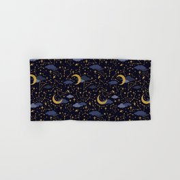 Celestial Stars and Moons in Gold and Dark Blue Hand & Bath Towel