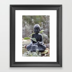 Buddha with ice crystals Framed Art Print