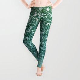 Sparkly Mermaid Turquoise Green Glitter Ombre Leggings