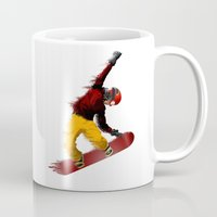 snowboarding Mugs featuring Snowboarding by Boehm Graphics