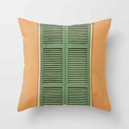 Green Shutters - Colorful Architecture in the New Orleans French Quarter Throw Pillow