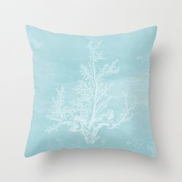 White Coral on Pale Blue Throw Pillow