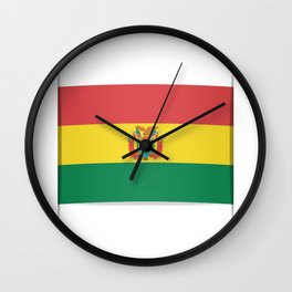 Flag of Bolivia. The slit in the paper with shadows.  Wall Clock