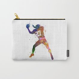 american football player man catching receiving silhouette Carry-All Pouch