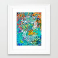yin yang Framed Art Prints featuring YIN & YANG by AlyZen Moonshadow