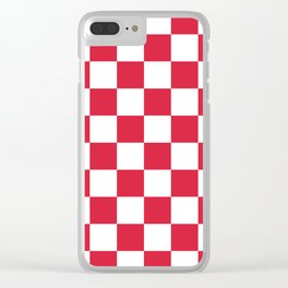 Red, Cherry: Checkered Pattern Clear iPhone Case