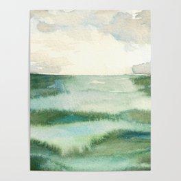 Emerald Sea Watercolor Print Poster