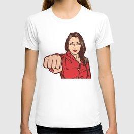 woman punching - pop art design T-shirt