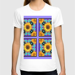 Lilac Purple Yellow Sunflowers & Turquoise Butterflies Patterns T-shirt