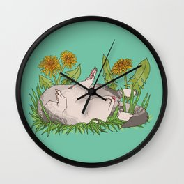 Sleeping Ferret with Dandelions and Grass Wall Clock