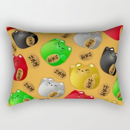 Fun Colorful Maneki-neko cats pattern on yellow Rectangular Pillow