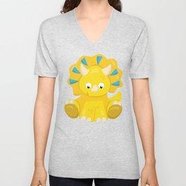 Cute Yellow Dinosaur, Baby Dino, Triceratops Unisex V-Neck