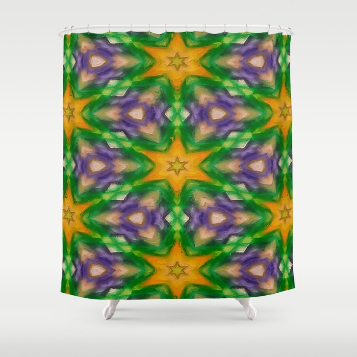 Mardi Gras Stars 4509 Shower Curtain By Celestesheffey