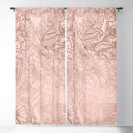 Modern rose gold floral illustration on blush pink Blackout Curtain