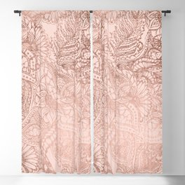 Modern rose gold floral illustration on blush pink Blackout Curtain