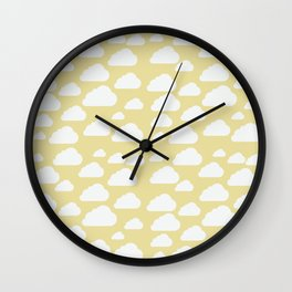 Clouds on Mustard Wall Clock