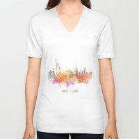 new york skyline V-neck T-shirts featuring New York skyline by jbjart