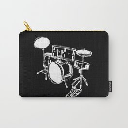 Drum Kit Rock Black White Carry-All Pouch