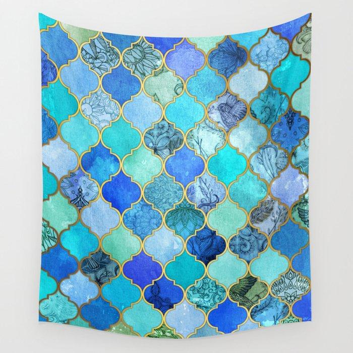 Cobalt Blue Aqua Gold Decorative Moroccan Tile Pattern Wall Tapestry