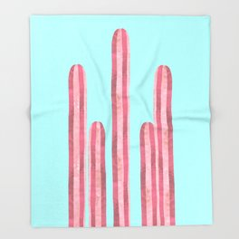 Garden of cacti and blue Throw Blanket
